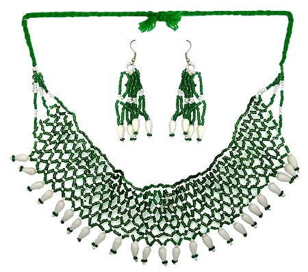 Green with White Bead Necklace and Earrings