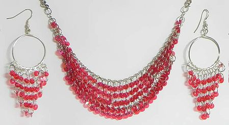 Magenta Sequined Jhalar Necklace with Earrings