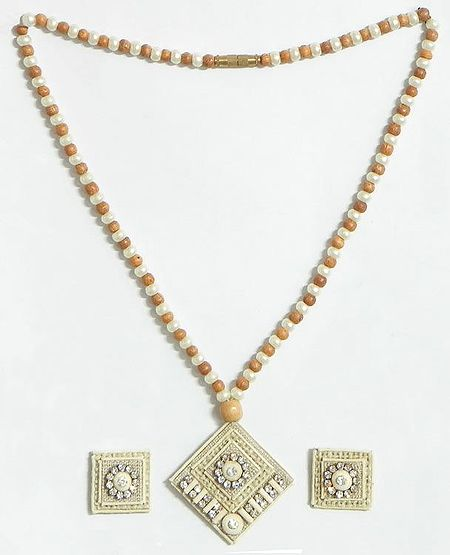 Light Brown and White Bead Necklace with Jute Pendant and Earrings