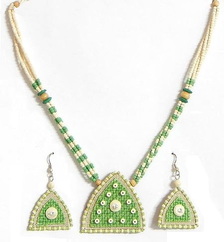 Light Green and Light Beige Bead Necklace with Jute Pendant and Earrings