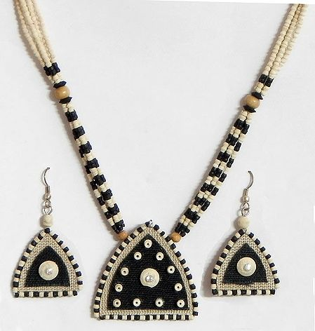 Black and Beige Wooden Bead Necklace with Jute Pendant and Earrings