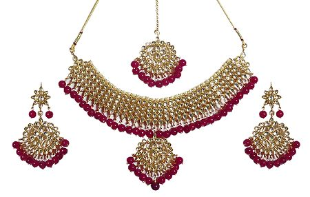 White Cut Glass with Red Bead Adjustable Necklace Set