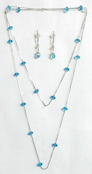 Cyan Blue Crystal Bead Necklace Set