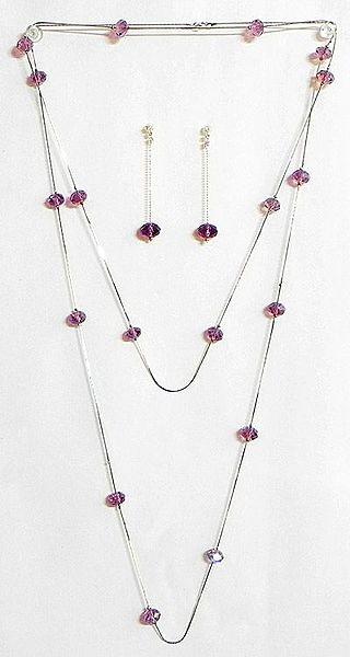 Dark Purple Crystal Bead Necklace Set