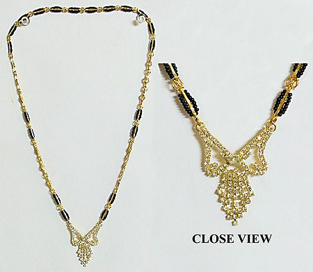 Gold Plated Mangalsutra with Stone Studded Pendant