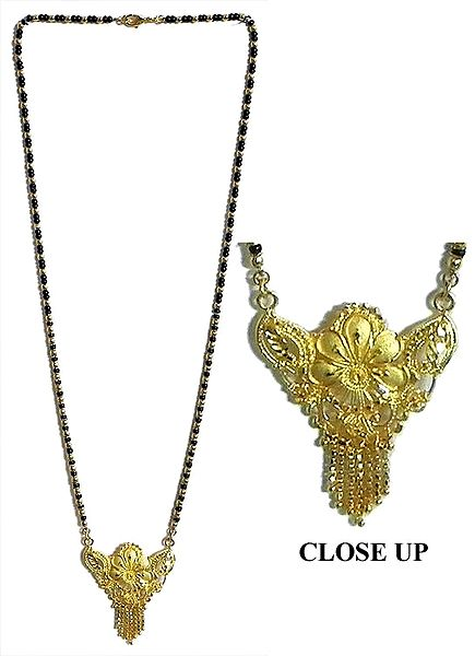Gold Plated Mangalsutra with Black Beads and Pendant