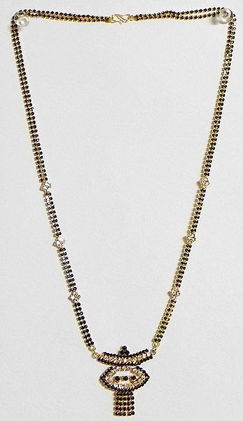 Black and White Stone Studded Mangalsutra with Pendant