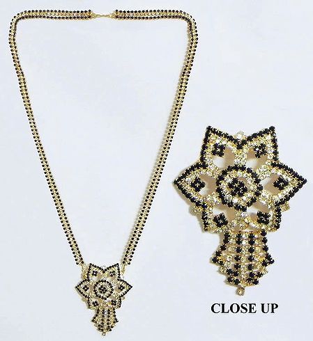 Black and White Stone Studded on Gold Plated Mangalsutra