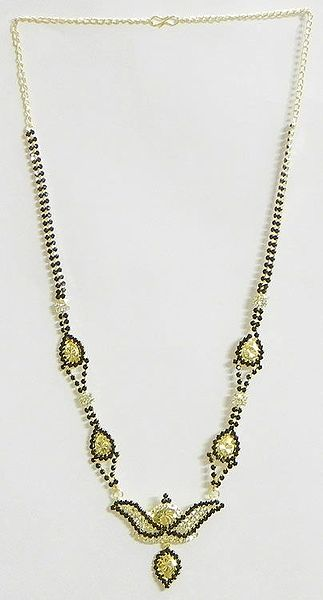 Black and White Stone Studded and Gold Plated Mangalsutra
