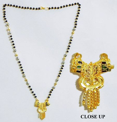 Black and Golden Beaded Mangalsutra with Pendant