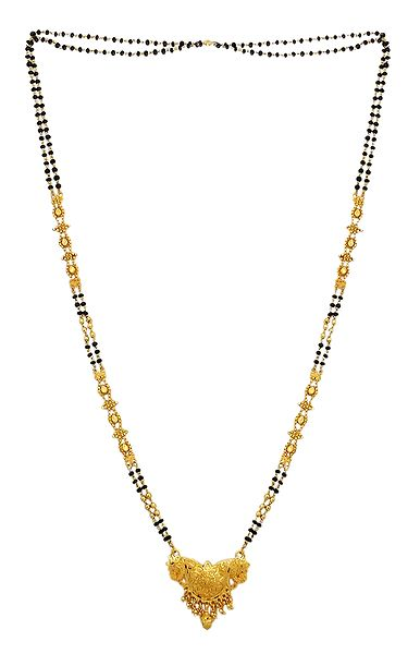 Black Beaded Gold Plated Mangalsutra with Pendant