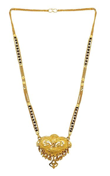 Black Beaded and Gold Plated Mangalsutra with Pendant