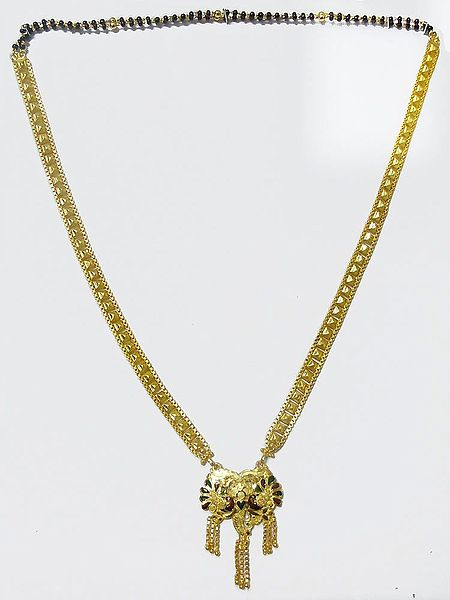 Gold plated Mangalsutra with Laquered Peacock Pendant