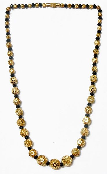 Black Crystal with Gold Plated Bead Necklace