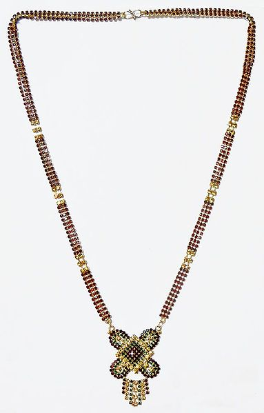 Gold Plated and Faux Garnet,Citrine and Emerald Studded Mangalsutra with Gorgeous Pendant