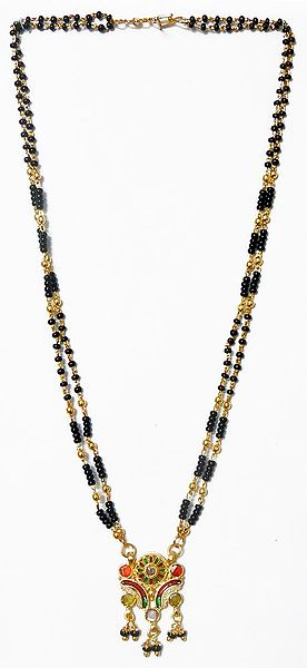 Black Bead and Gold Plated Mangalsutra with Pendant