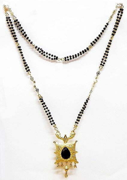 Black and Golden Bead Gold Plated Mangalsutra