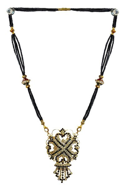 Black Beaded Mangalsutra with Stone Studded Pendant