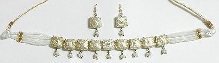 White Beaded Meenakari Choker with Earrings