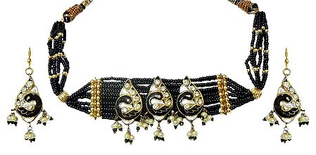 Black Bead with Lac Meenakari Choker Set
