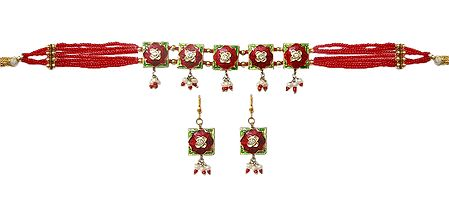 Red Bead with Lac Meenakari Choker Set
