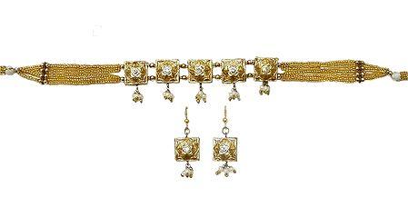 Golden Bead with Lac Meenakari Choker Set