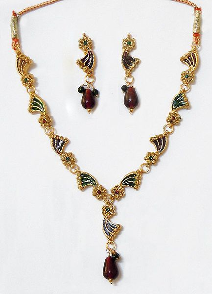 Red and Green Lacquered and Stone Studded Necklace with Earrings