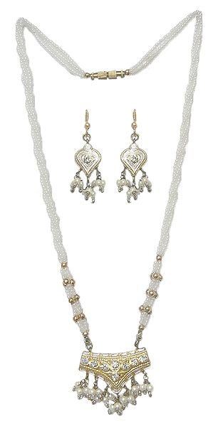 White Bead Necklace with Lac Meenakari Pendant and Earrings