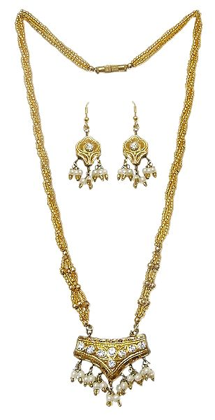 Golden Bead Necklace with Lac Meenakari Pendant and Earrings