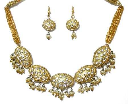 Golden Beads and Lac Meenakari Necklace Set