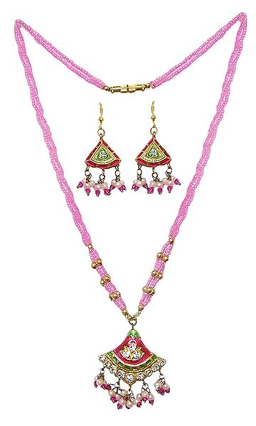 Pink Bead Necklace with Lac Meenakari Pendant and Earrings