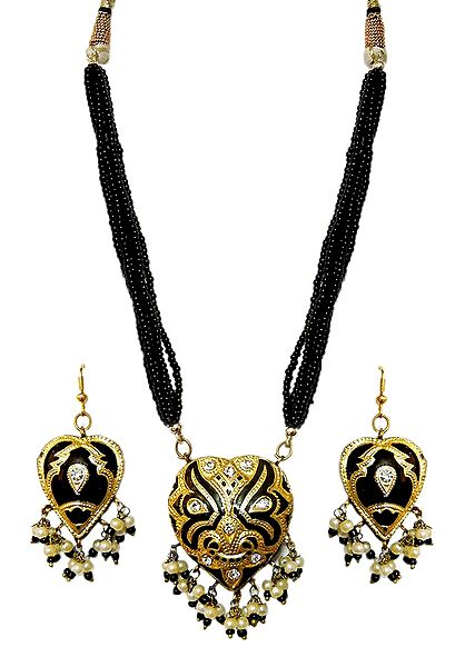 Adjustable Bead Necklace with Black Lac Meenakari Pendant and Earrings