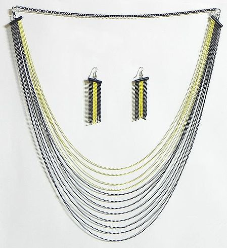 Four Layer Yellow Color and Eight Layer Black Color Metal Necklace and Earrings