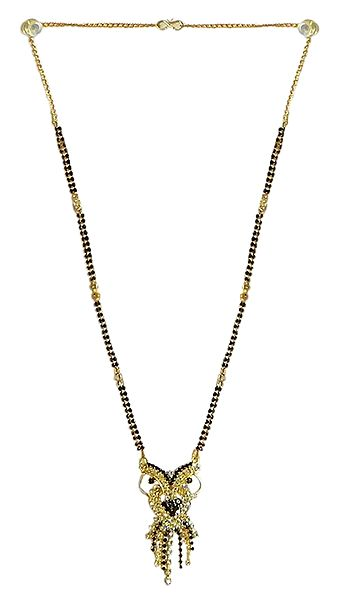 Black Stone Studded and Gold Plated Mangalsutra