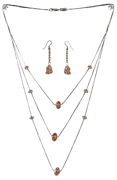 Three Layer Necklace with Pink Crystal Beads