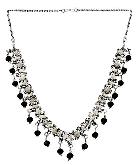 White Metal Necklace with Black Beads