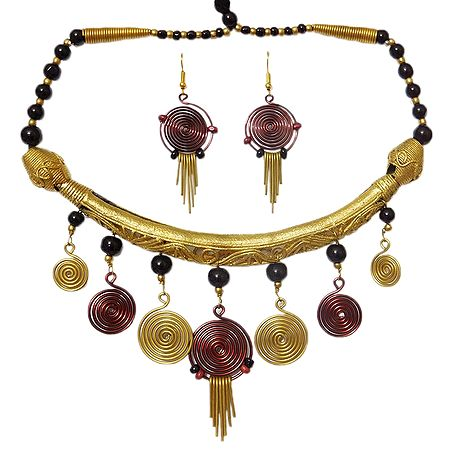 Brass with Copper Tribal Hansuli Necklace Set