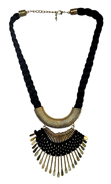Bead Necklace with Brass Pendant