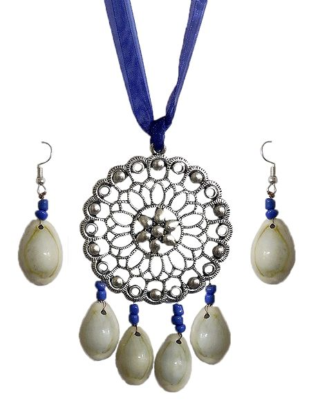 Metal Pendant and Cowrie Earrings with Adjustable Blue Ribbon