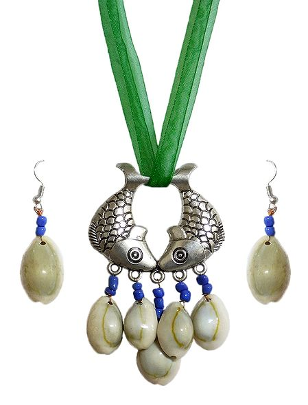 Metal Fish Pendant and Cowrie Earrings with Adjustable Green Ribbon