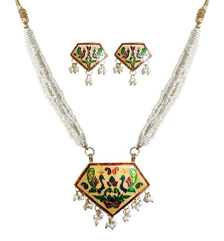 White Beaded Meenakari Necklace with Earrings