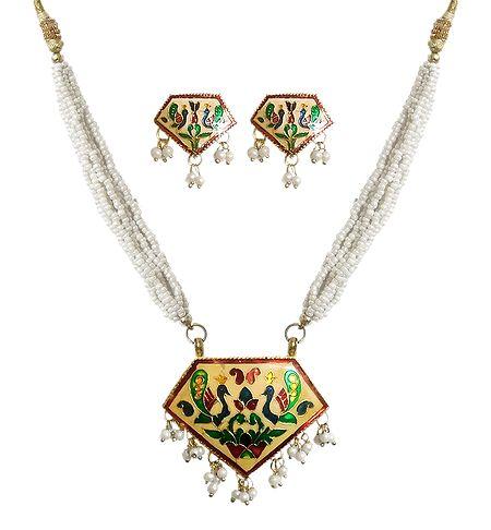 White Beaded Meenakari Necklace with Earrings