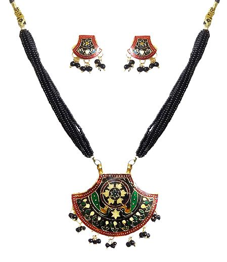 Black Beaded Meenakari Necklace with Earrings