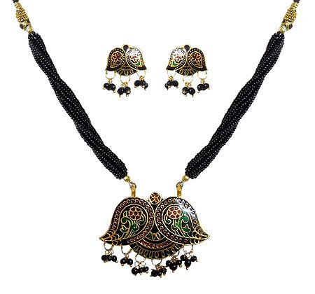 Black Beaded Meenakari Necklace with Earrings