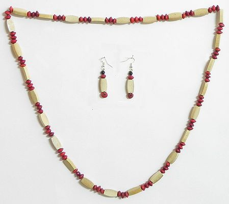 Beige Wooden Beads with Red Natural Seed Necklace and Earrings