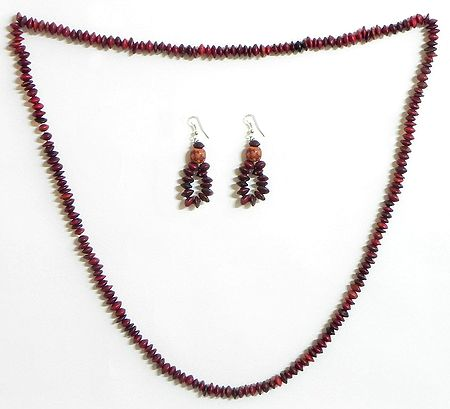 Maroon Wooden Beads and Natural Seed Necklace and Earrings