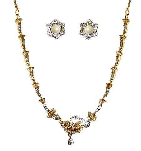 White Stone Stuudded Necklace with Earrings