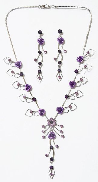 Faux Amethyst Studded Necklace with Blue Metal Roses with Post Earrings