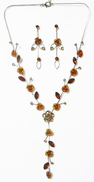 Faux Citrine Studded Necklace with Yellow Metal Roses with Post Earrings