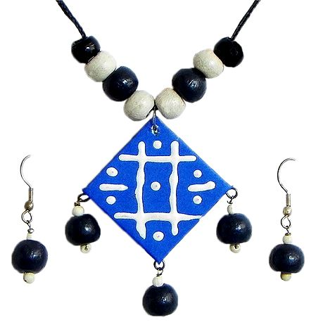 Adjustable Necklace with Blue Paper Pendant with Black Wooden Bead Earrings
